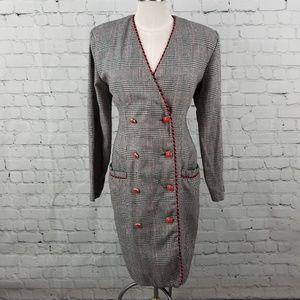 LORI ANN | plaid vintage 80s suit dress